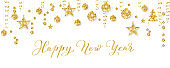 Banner with Happy New Year calligraphy. Christmas golden glitter decoration on a string