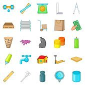 Home repair icons set, cartoon style