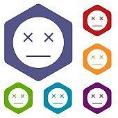 Dead emoticon icons set