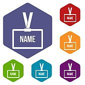 Plastic Name badge with neck strap icons set