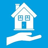Hand holding house icon white