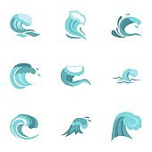 Water wave icons set, flat style