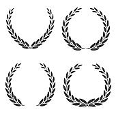 Laurel wreaths of different shapes isolated on white background. Set of. Vector illustration.