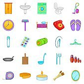 Household icons set, cartoon style