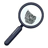 Magnifier and fingerprint icon, cartoon style