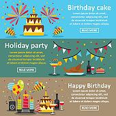 Birthday party banner horizontal set, flat style