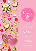 Women's day greeting card poster of gold heart, gift box decoration with chocolate candy pink background for 8 March.