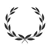 Laurel wreath isolated on white background. Vector icon illustration.