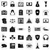 Hacker icons set, simple style