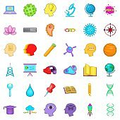 Creative business icons set, cartoon style