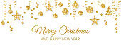 Christmas golden decoration on white background. Merry Christmas and Happy New Year card