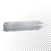 Silver paint brush stroke or abstract dab smear with silver glitter smudge texture on transparent background. Vector isolated glittering and sparkling silver paint or ink paintbrush splash stain