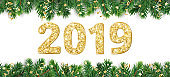 Banner with 2019 golden glitter numbers. Christmas tree frame, garland with ornaments