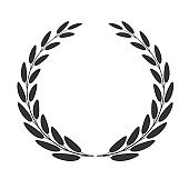 Laurel wreath isolated on white background. Vector illustration.
