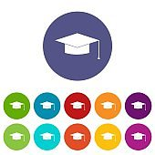 Graduation cap set icons