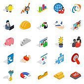 Conception icons set, isometric style