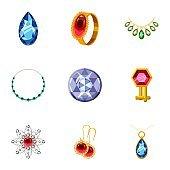 Rich jewelry icons set, cartoon style