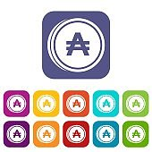 Coin austral icons set
