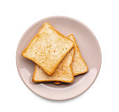 Plate with tasty toasted bread on white background