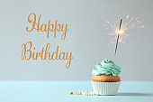 Delicious cupcake with burning sparkler and greeting HAPPY BIRTHDAY on color background