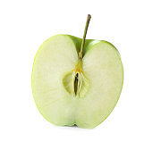Half of fresh green apple isolated on white