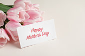 Beautiful tulips and greeting card with words 'Happy Mother's Day' on light background