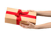 Woman holding parcel gift box on white background