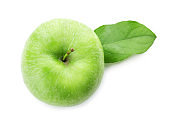 Fresh green apple on white background, top view