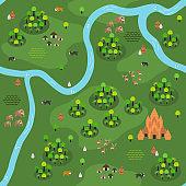 Flat Southeast-Asian Jungle Map Pattern (Variant C)