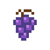 Blue grapes pixelated fruit graphic