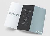 Tri-fold brochure mockup printed materials