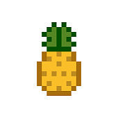 A pineapple pixelated fruit graphic