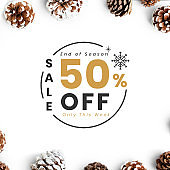 50% Christmas sale sign mockup