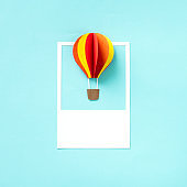 Paper craft art of a hot air balloon