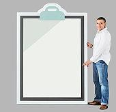 Man holding big clipboard mockup