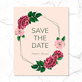Save the date with floral frame