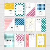 Colorful calendar mockup