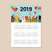 Cute animal calendar mockup
