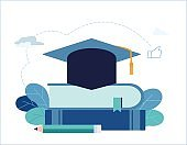 education vector illustration. academy hat on heap of books banner. studying and teaching concept. flat cartoon design for web mobile background