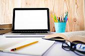 Mock up blank white screen laptop.