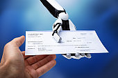 Robotic Hand Giving Cheque To Person