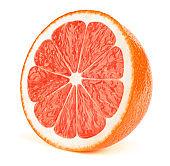 Half of grapefruit fruit slice isolated on white