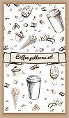 Hand Drawn Hot Coffee Patterns