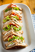 Bacon lettuce tomato sandwich with spring onion & mayo