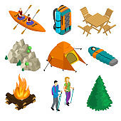 Isometric Camping Elements Set