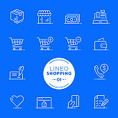 Lineo White - Shopping and E-commerce line icons (editable stroke)