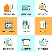 Cooking utensils line icons set