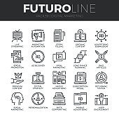 Digital Marketing Futuro Line Icons Set