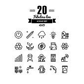 Ecology and energy elements line icons set