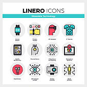 Wearable Technology Linero Icons Set